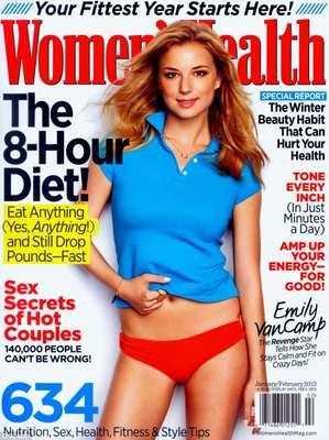 A atriz Emily VanCamp, protagonista da série Revenge, é capa da Women's Health de janeiro