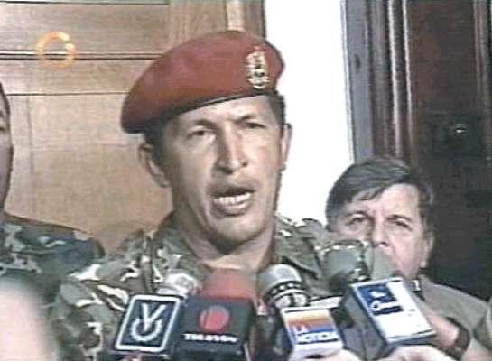 Captura de la televisión de la imagen de Hugo Chávez después del golpe de estado de 1992
