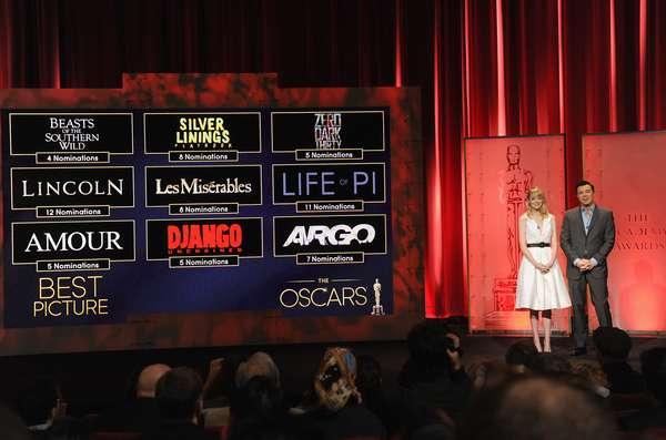 Na manhã desta quinta-feira (10), a Academia divulgou a lista de indicados ao Oscar 2013, com apresentação dos atores Emma Stone e Seth MacFarlane