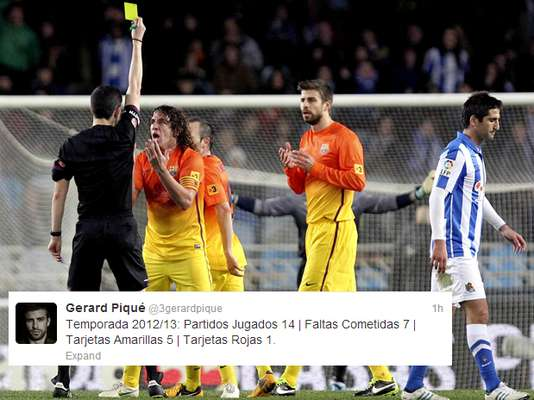 "Barcelona lost its first game of the season today, in large part due to Pique being ejected in the second half. The Barcelona defender took to Twitter to defend his record: ""2012/2013 Season: 14 Matches Played: 7 Fouls Committed: 5 Yellow Cards: 1 Red Card""."
