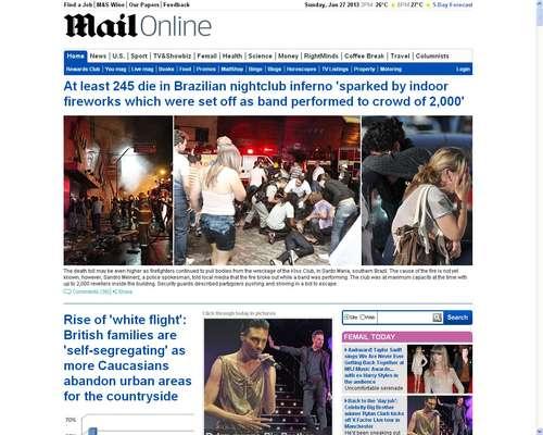 Jornal inglês Daily Mail destaca inferno na boate em Santa Maria