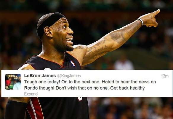 LeBron James was one of many NBA stars who tweeted about the news that Boston Celtics point guard Rajon Rondo would miss the rest of the season after suffering a torn ACL.