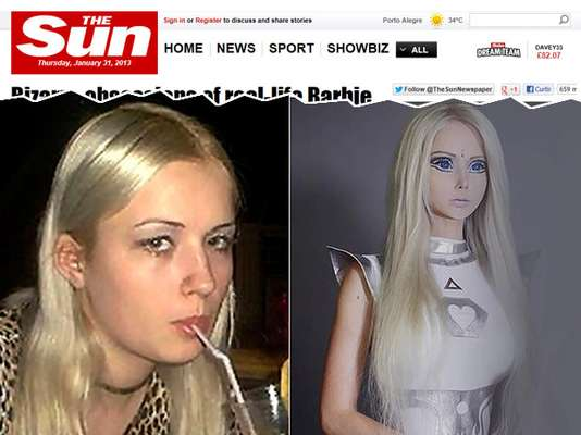 """A ucraniana Valeria Lukyanova, de 23 anos, ficou conhecida após publicar fotos na internet com aparência semelhante à da Barbie. Cabelos loiros, cintura fina e olhos azuis a tornam um """"clone"""" da boneca, mas as curvas e traços da jovem exigem muito esforço. Ela contou que vive de uma dieta líquida e acredita que vem de outro planeta"""