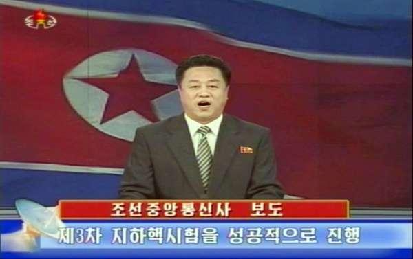 Imagem da TV estatal norte-coreana mostra um apresentador confirmando a realização do teste nuclear