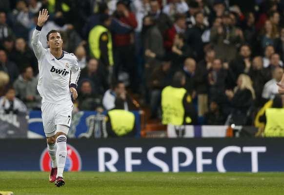 Cristiano Ronaldo marcou contra seu ex-time e comemorou de forma contida; Real Madrid e Manchester United empataram por 1 a 1 no Santiago Bernabéu