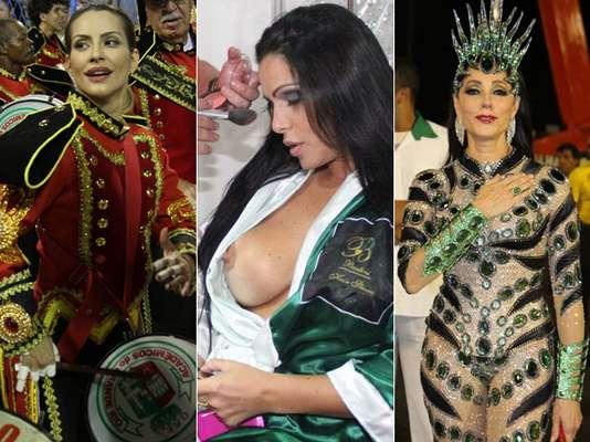 Cleo Pires, Fabiana Andrade e Christiane Torloni ajeitam as fantasias antes de entrarem na Sapucaí para o Desfile das Campeãs do Rio, neste sábado (16)