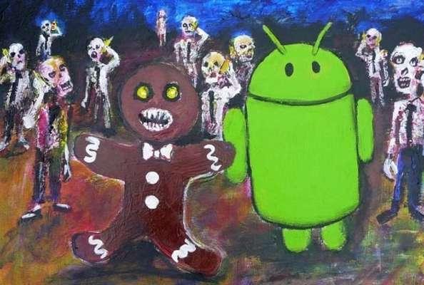 """Uma imagem escondida na versão 2.3 do Android, a Gingerbread, causou polêmica na internet depois que um pastor brasileiro acusou o sistema operacional de satanismo por causa dos zumbis na imagem. A pintura aparece quando o usuário clica repetidas vezes na versão do Android no menu """"Sobre o telefone"""" do sistema operacional e apareceu pela primeira vez na versão Gingerbread do sistema operacional. O primeiro """"easter egg"""", uma brincadeira do Google escondida em todas as versões posteriores do Android, mostra um Gingerbread, ou pão de gengibre, apelido do sistema, ao lado do mascote do produto e cercado de zumbis. Veja os outros """"easter eggs"""" escondidos nas versões posteriores do Android"""