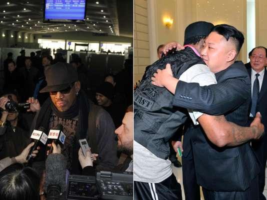Ex-jogador da liga profissional de basquete dos Estados Unidos, a NBA, Dennis Rodman deixou a Coreia do Norte nesta sexta-feira. O americano passou a semana em Pyongyang, a capital do país, onde foi recebido pelo líder local Kim Jong-Un, para uma série de eventos: juntos, eles jantaram e assistiram a uma partida de basquete do time profissional Harlem Globetrotters. Veja fotos: