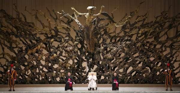 El papa Francisco recibió este sábado, en el Aula Pablo VI del Vaticano, a más de más de 5.000 periodistas de todo el mundo