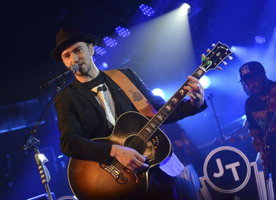 Justin Timberlake kept it casual in a tuxedo shirt while performing at a Myspace Secret Show at SXSW this weekend. The singer performed his new songs from The 20/20 Experience to an intimate crowd at the at the Austin, TX music festival.