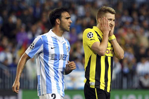 Málaga e Borussia Dortmund se enfrentaram nesta quarta-feira e ficaram no 0 a 0; confronto na Espanha abriu série entre os times pelas quartas de final na Liga dos Campeões