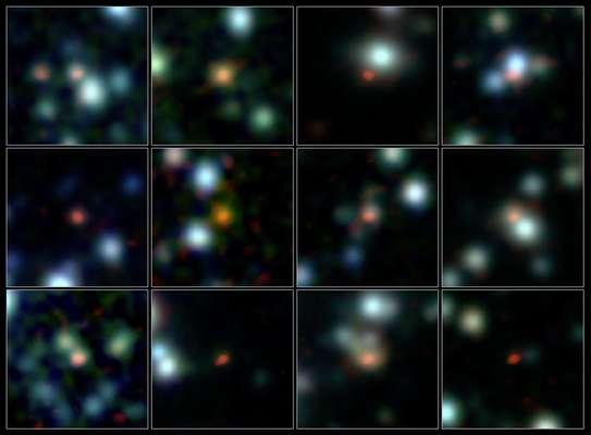 Equipe de astrônomos determinou a localização de mais de 100 galáxias com formação estelar intensa no Universo primordial utilizando o utilizou o novo telescópio ALMA (Atacama Large Millimeter/submillimeter Array)
