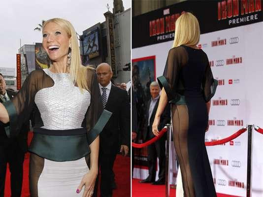 Gwyneth Paltrow chamou atenção no tapete vermelho da première de Homem de Ferro 3, realizada em Hollywood, na noite da última quarta-feira (24). Sem calcinha e com vestido transparente nas laterais, a atriz, que foi eleita a mais bela do mundo pela revista People, foi alvo de cliques dos fotógrafos