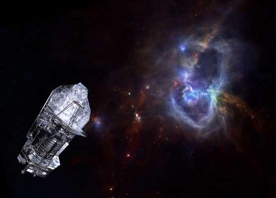 Lançado em maio de 2009 para estudar a formação das estrelas, o telescópio espacial Herschel encerrou definitivamente suas atividades. Nesta projeção divulgada pela Agência Espacial Europeia, o telescópio tem como pano de fundo o berçário estelar W40, localizado a 1 mil anos-luz, na constelação de Aquila