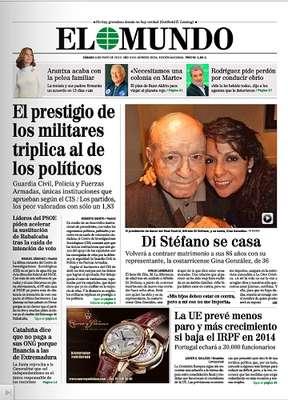 'El Mundo' resalta en su portada la encuesta del CIS y la boda de Di Stéfano a sus 86 años.