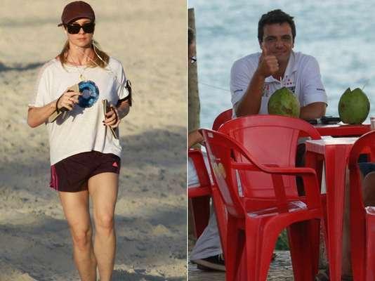 Rodrigo Lombardi e Letícia Spiller aproveitaram uma folga nas gravações de Salve Jorge para aproveitar a praia da Barra da Tijuca, zona oeste do Rio de Janeiro, na tarde desta segunda-feira (13). A novela está em sua última semana na TV Globo