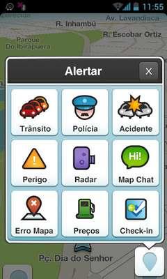 """Waze - É um app baseado na colaboração entre os usuários. Ele permite que você compartilhe o tráfego em tempo real e informações de estradas. Ele irá alertá-lo antes de se aproximar da polícia, acidentes, perigos ou engarrafamentos. Você também pode pesquisar para encontrar o posto de gasolina mais barato ao longo de sua rota. Mas há algumas desvantagens: você não pode marcar uma posição como """"favorita"""" se você não tiver o endereço exato e nem sempre ele traça a melhor rota. Google e Facebook estariam tentando comprar a companhia, em um negócio que pode valer US$ 1 bilhão"""