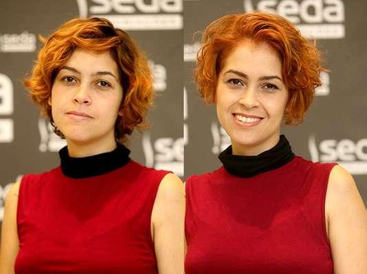 O cabelo, que já era curto, ficou ainda menor e ganhou uma tonalidade uniforme de ruivo