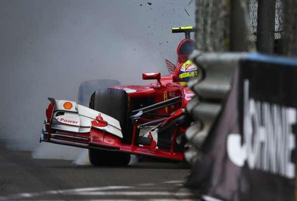 Terceiro treino livre para o Grande Prêmio de Mônaco é marcado por acidente de Felipe Massa, que largará da última colocação na corrida