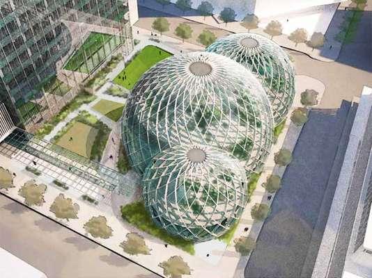 A Amazon anunciou no final de maio os planos de construir uma sede nova em Seattle, com estrutura composta por três bolhas gigantes com estrutura de aço e paredes de vidro