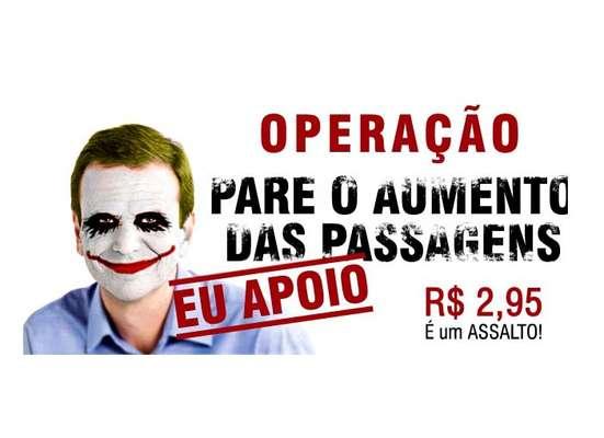 O prefeito do Rio de Janeiro, Eduardo Paes, foi satirizado pelos protestantes nas redes sociais
