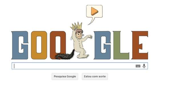 Página inicial do Google mostra uma criança fantasiada