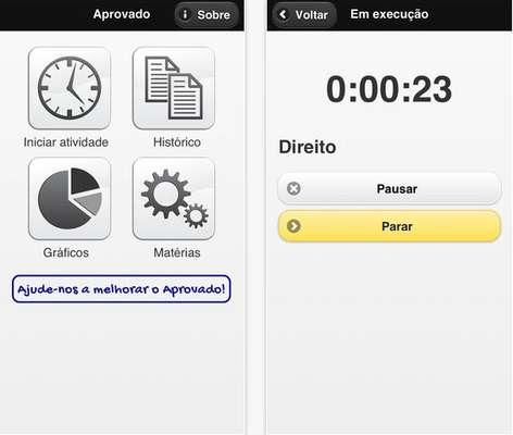 O aplicativo Aprovado permite que o aluno registre suas horas de estudo, com o cronômetro ou manualmente, e analise, com ajuda de gráficos, o seu desempenhoCartola - Agência de ConteúdoEspecial para o Terra