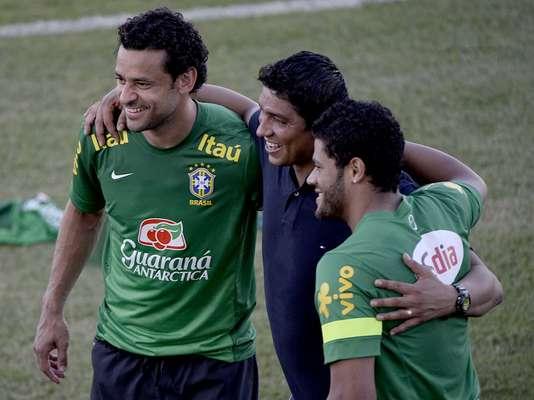 A Seleção treinou, nesta segunda-feira, no Castelão, em Fortaleza. A preparação da equipe contou com a visita de Jardel, ex-atacante do Grêmio