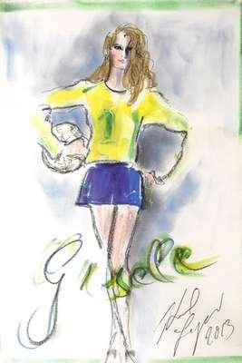 Gisele Bündchen usa uniforme da seleção brasileira com o número 1