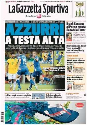 """O tradicional jornal italiano La Gazzetta dello Sport não gostou do que viu na partida Itália 2 x 4 Brasil: reclamou da arbitragem, lembrou a ação de policiais nos arredores do estádio, chamou Neymar de """"campeão de mergulho"""" e exaltou Balotelli como """"campeão de calcanhar"""", graças ao belo passe do atacante italiano para o gol de Giaccherini no começo do primeiro tempo"""
