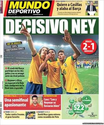 Com de costume nos últimos dias, os jornais da Catalunha destacaram a atuação de Neymar, novo reforço do Barcelona. Na capa do Mundo Deportivo, o atacante é chamado de ''decisivo'': ''o craque do Barça participou dos dois gols e não se intimidou diante de um rival valente''
