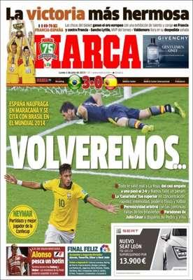 """O tradicional jornal esportivo espanhol Marca, de Madri, marca a revanche da seleção de Vicente del Bosque para a Copa do Mundo de 2014: """"voltaremos"""""""