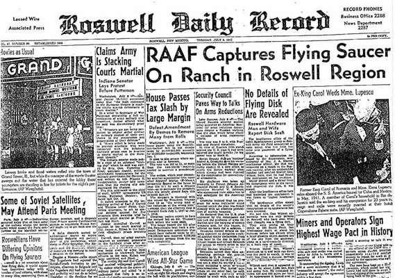 Manchete do jornal da cidade de Roswell após o episódio do disco voador