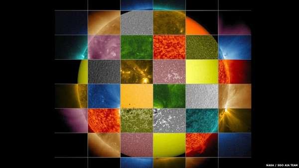 Apesar de seu aspecto por vezes monótono, o Sol é uma estrela dinâmica e de grande beleza. Uma análise dos diferentes comprimentos de onda da luz produzida pelo Sol revela processos e camadas bastante distintos