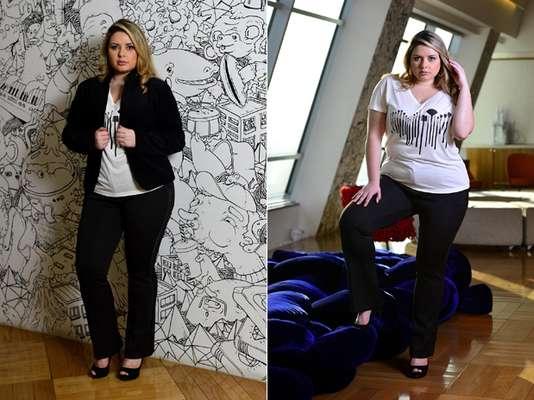 """""""A camiseta em decote V é ótma para valorizar o colo"""", afirmam as consultoras Fernanda Junqueira e Tatti Marques"""