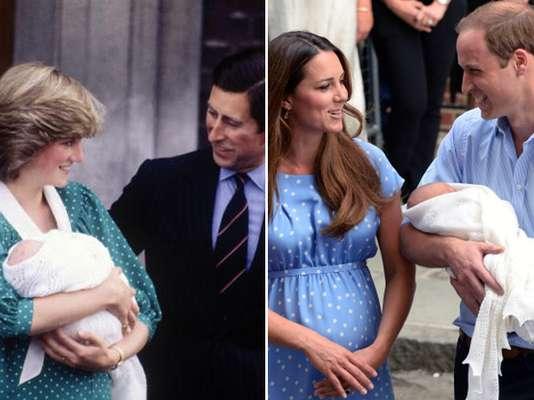 Los lunares blancos fueron el estampado elegido para el vestido con el que saldrían a saludar a la prensa. En el caso de Kate Middleton, pudimos verla lucir un delicado diseño de Jenny Packham, muy similar al de Diana el día del nacimiento de William.