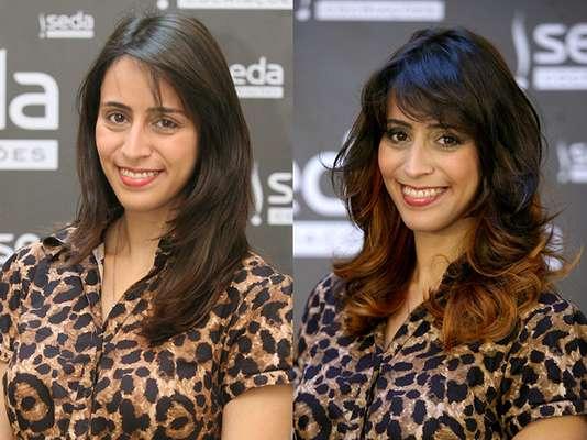 A blogueira Luli Monteleoni, de 29 anos, ganhou um look moderno com as luzes invertidas na tonalidade cobre. O corte repicado complementou a transformação