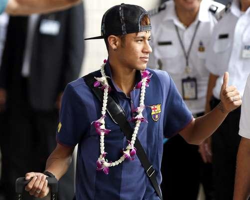 O time do Barcelona desembarcou nesta segunda-feira na cidade Bangcoc, na Tailândia, para mais uma parte dos compromissos de pré-temporada
