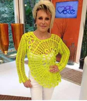 A blusa amarela de crochê da apresentadora Ana Maria Braga ficou em primeiro lugar no ranking dos figurinos mais pedidos de setembro