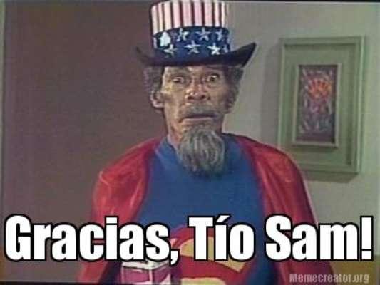 """Mexicanos lembraram o personagem Super Sam, do seriado Chapolin Colorado, para agradecer aos Estados Unidos pela """"ajudinha"""" nas Eliminatórias da Concacaf para a Copa do Mundo"""