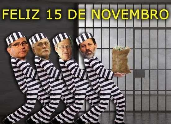 A prisão de condenados por envolvimento no mensalão deu origem a vários memes desde sábado. Entre os 11 primeiros a serem presos, estão João Paulo Cunha (esq.), José Genoino, José Dirceu e Delúbio Soares (dir.)