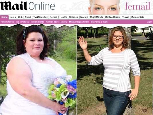 A americana Rebecca Privitera, de 31 anos, perdeu95 quilos se exercitando na sala de casa