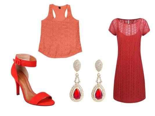 Vestido, sapato e bolsa e acessórios devem ser combinados com outras cores para deixar um look equilibrado