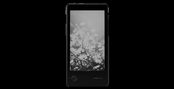YotaPhone conta com uma tela de LCD iluminado de um lado e uma tela de papel eletrônico projetada para imitar a aparência de tinta comum em papel do outro, que fica sempre ligada