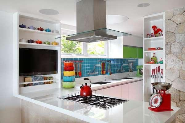 decoracao cozinha de praia:de praia, a paleta de cores em tons vibrantes saiu da coleção de