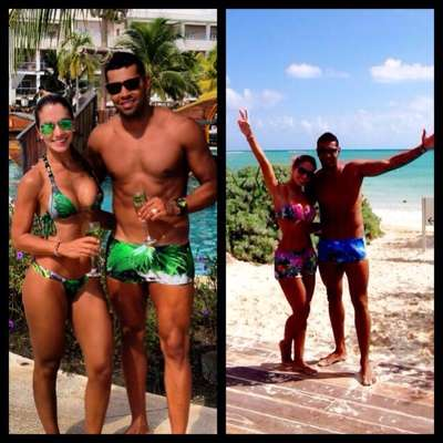 André Santos curte praia nas férias
