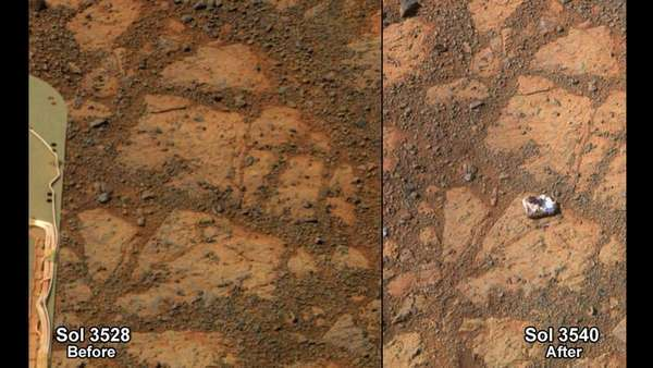 Montagem com fotos da NASA mostram a superfície de Marte. Cientistas estão intrigados sobre como uma pedra apareceu misteriosamente numa foto enviada de Marte pela sonda Opportunity.