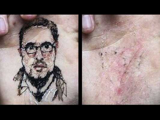 Para isso, ele decidiu costurar com agulha e linha os rostos dos amigos e familiares nas palmas das mãos