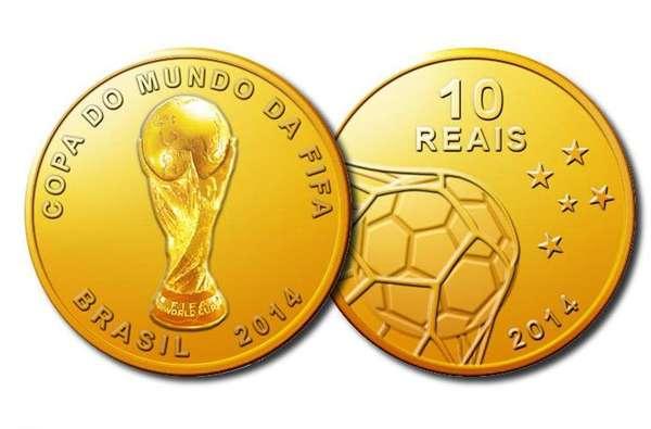 Colecionadores podem adquirir a partir desta quarta-feira as moedas comemorativas oficiais da Copa do Mundo de 2014, fabricadas pela Casa da Moeda do Brasil. Moeda de ouro, com 4,4 gramas, 16 milímetros de diâmetro e valor de face de R$ 10, custa R$ 1.180
