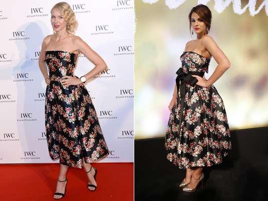 Para a festa de lançamento da novela Em Família, Bruna Marquezine escolheu saia com volume e amarrou um laço na cintura deste vestido da grife Dolce & Gabbana, que foi usado pela atriz americana Naomi Watts durante o Festival de Cannes, em maio de 2013